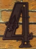 Gußeisen Hausnummer Nummer 4 Nostalgie Zahl Ziffer Lilie Landhaus ca. 8*11cm