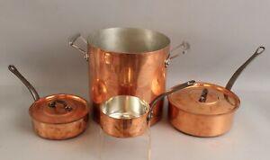 Vintage Baumalu France & Mauviel 1830 Copperware Tin Lined Sauce Pot & Lids