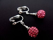 A PAIR OF PRETTY 10MM SHAMBALLA STYLE PINK DROP CLIP ON  EARRINGS. NEW.