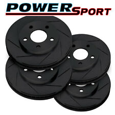 Fit 2007-2015 Toyota Tundra Front Rear PowerSport Black Slotted Brake Rotors