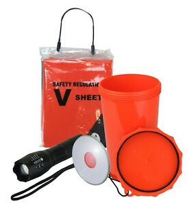 Safety Equipment Pack with Torch, V-Sheet, Signal Mirror, 1.5L Container/Bailer
