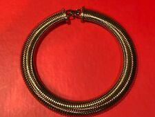 Signed Monet Gold Color Snake Vintage Wide Choker Necklace
