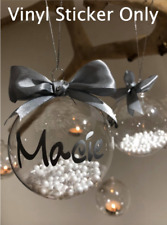 Personalised Custom Name Vinyl Stickers For Christmas Baubles Decor Adhesive