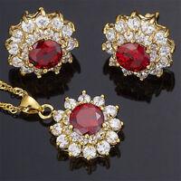 Brass Set Garnet Red Ruby Flower Round Cut Necklace Pendant Earrings(Y)