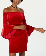 $180 Teeze Me Juniors Red Velvet Off-Shoulder Bell-Sleeve Party Dress Size 13/14