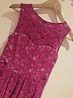 Lovely OASIS Summer Pink Fuchsia Lace Floral Skater Dress Size 10