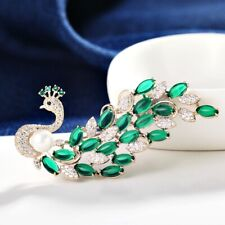 Thick Yellow Gold GF Made With SWAROVSKI Crystal & Pearl Peacock Emerald Brooch
