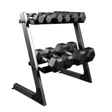 Extreme Fitness Rubber Dumbbell Hex Weights Set & Storage Tree Dumbells 5-25kg