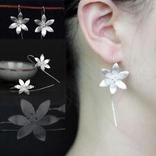 Korean Style Silver Tone Lotus Flower Dangle Tassel Hook Earrings Ear Jewellery