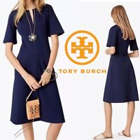 Tory Burch Jules Dress Navy Blue Ponte Fit & Flare Short Sleeve Size XS 0-2 NWT