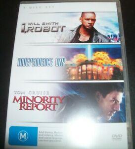 I Robot / Independence Day / Minority Report (Australia Region 4) DVD – Like New