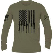 Grunt Style Rifle Flag Long Sleeve T-Shirt - Military Green