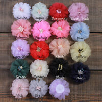 20PCS 5.5CM Fashion Tulle Silk Hair Fabric Flower With Match Stick Center