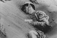WWII photo American Marine killed by sand on Iwo Jima 21
