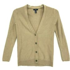 GAP V Neck Cardigan Sweater Womens Sz XS Camel Brown Long Sleeve Button Front