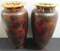 VINTAGE AFRICAN BROWN CLAY POTTERY JAR/VASE LOT OF 2
