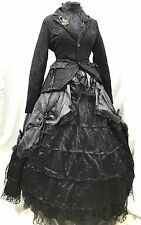Raven 5 Pcs Victorian Ballroom Skirt,Blouse,Hoop,Lace Riding Jacket Size M