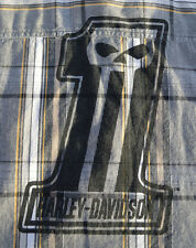 RARE Mens Harley Davidson Skull One Garage/Shop Plaid Shirt s/s Black Label M