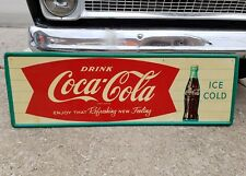 """Original Ice Cold Drink Coca Cola Fishtail 54"""" Sign Coke Soda Bottle Painted Tin"""