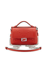 100% AUTH NEW FENDI DOUBLE SIDED QUILTED RED MICRO BAGUETTE SATCHEL BAG/HANDBAG