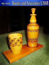 Vintage wooden bottle, mug and stand of the 1970s USSR, height 23 cm