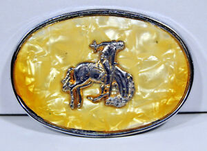 Belt Buckle Cowboy Bucking Bronco Faux Mother of Peril Silver Vintage