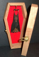 Real Hanging Bat in a Brown Wooden Coffin! Gothic Taxidermy! Nice Quiet Pet!