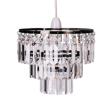 Modern 3 Tier Brass and Clear Droplets Easy Fit Chandelier Ceiling Light Shade