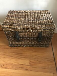 Vintage Wicker Trunk with Brass Hardware and Leather Straps 27 X 18