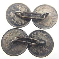 Vintage Cufflinks Handmade Canada Dimes Canadian 10 Cents Silver George V S383