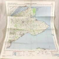 1969 Vintage Militare Mappa Di st Andrews Scozia Kirkcaldy Cupar NEWPORT Su Tay