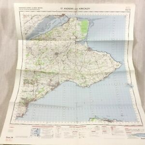 1969 Vintage Military Map of St Andrews Scotland Kirkcaldy Cupar Newport on Tay