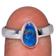 Australian Fire Opal 925 Sterling Silver Ring Jewelry s.8 AR108336