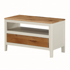 Modern White Small TV Stand / Oak Painted TV Unit / Painted Multimedia Unit