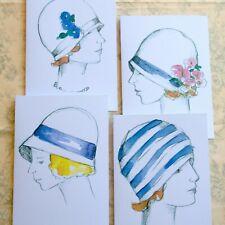 Vintage Flapper Girl Greeting Card Set Of Four Roaring Twenties Women Cloche Hat