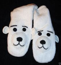 NEW Spirit POLAR BEAR Mittens ADULT knit deLux  LINED white gloves HAT SEPARATE