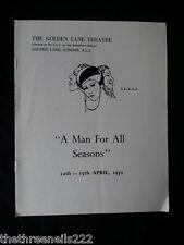 A MAN OF ALL SEASONS - GOLDEN LANE THEATRE - KENNETH WIRDNAM - 1972
