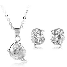 Luxury Silver and White Zircon Fox Stud Earrings & Pendant Necklace S591