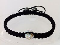 Shamballa bracelet 1 rainbow swarovski crystal bead 2 hematite beads adjustable