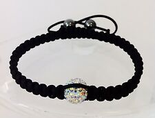 Shamballa bracelet 1 rainbow swarovski crystal bead 2 hematite beads adjustable