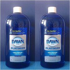 2 Bottle Refills - Dawn Platinum Dish Liquid Foam Soap Fresh Rapids 30.9 Fl oz