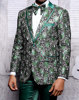 Men Insomnia Manzini Blazer Stage Performer Prom MZE166 Green Sequin Floral New