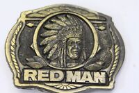 Red Man Chewing Tobacco Native American Indian Chief Belt Buckle 1988 Limited Ed