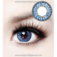 Lentilles de Couleur BLEUE Big Eyes LAY Duree 365j. Filtre Contact UV +Etui