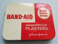 FAB VINTAGE JOHNSON & JOHNSON BAND-AID WASHPROOF PLASTERS STORAGE TIN BOX