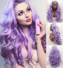 """24"""" GlueLess Lace Front Wig Synthetic Hair Long Wavy Light Purple Handtied"""