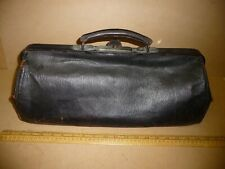 Antique Doctors Bag / Leather Gladstone Bag . Leather Dr's Case - 46cm long