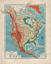 1904 ANTIQUE MAP ~ NORTH AMERICA PHYSICAL ROCKY MOUNTAINS PLATEAU SLOPE