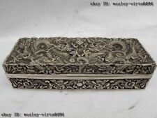 2 Chinese Royal Palace White Copper Silver Two Dragon Play Bead Jewelery Box