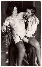 SEMI-NUDE COUPLE PHONING / HALB-NACKT AM TELEFON * Vintage 20s BIEDERER RPPC #2